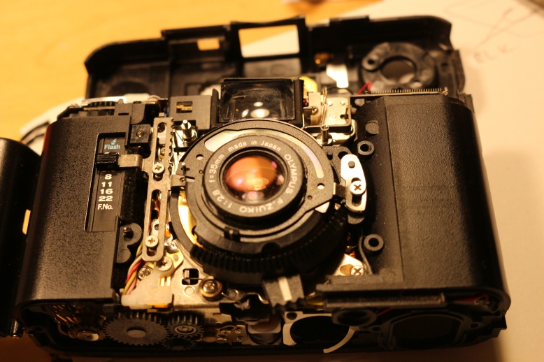 The Olympus XA with several panels removed